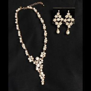 Pearl and crystal necklace and earring set